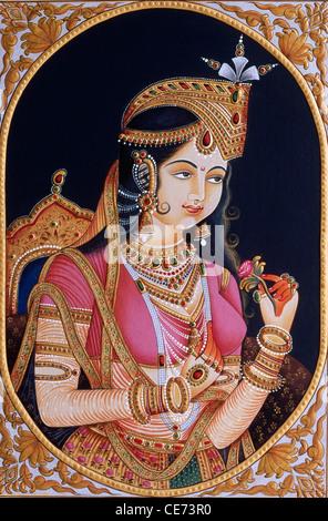 Miniature Painting of princess Mumtaz Mahal wife of Mughal Emperor Shah Jahan - bdr 84439 - Stock Photo