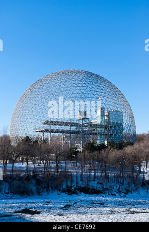 The Biosphere, a museum in Montreal dedicated to the environment. It is located at Parc Jean-Drapeau, on Île Sainte - Stock Photo