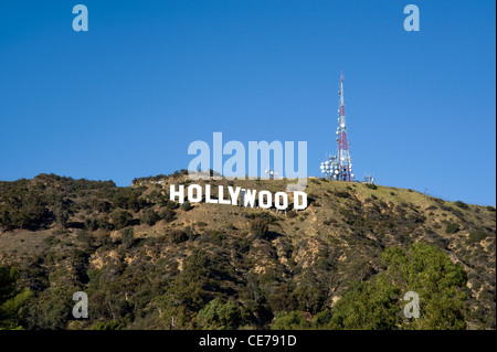 The famous Hollywood Sign in the Hollywood Hills - Stock Photo