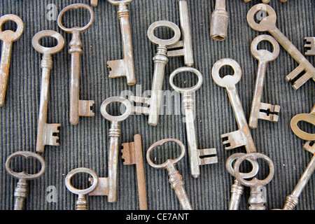 Many old keys on a market in Bruges, Belgium - Stock Photo