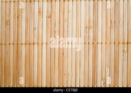 natural bamboo slatted mat background - Stock Photo