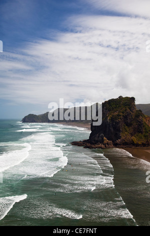 Piha beach and Lion Rock. Piha, Waitakere Ranges Regional Park, Auckland, North Island, New Zealand - Stock Photo