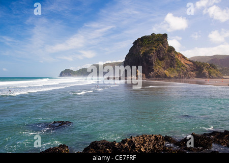 View along the beach to Lion Rock. Piha, Waitakere Ranges Regional Park, Auckland, North Island, New Zealand - Stock Photo