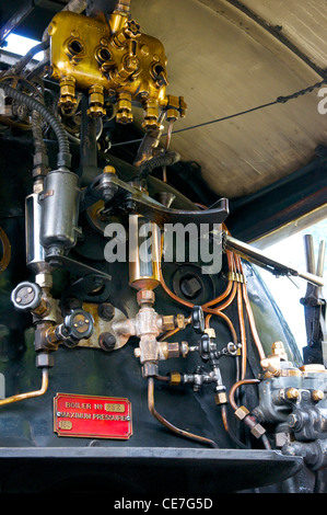 The steam engine controls of the Kingston Flyer in New Zealand - Stock Photo