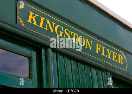 The Kingston Flyer steam train name plate in New Zealand - Stock Photo