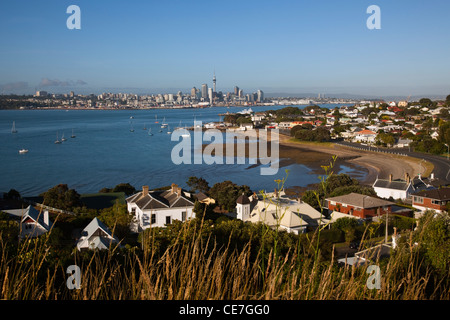 View from North Head to the harbour and city skyline. Devonport, Auckland, North Island, New Zealand - Stock Photo