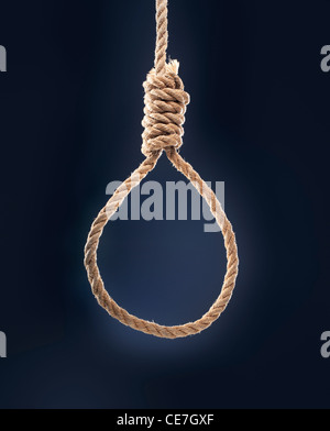 Rope noose with hangman's knot hanging in front of blue background. - Stock Photo