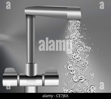 Illustration depicting a chrome water tap with metallic US Dollar Signs flowing from the spout against a grey background. - Stock Photo