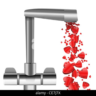 Illustration depicting a chrome water tap with metallic red love hearts flowing from the spout against a white background. - Stock Photo