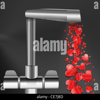 Illustration depicting a chrome water tap with metallic red love hearts flowing from the spout against a dark background. - Stock Photo