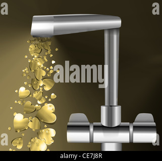 Illustration depicting a chrome water tap with metallic gold love hearts flowing from the spout against a dark background. - Stock Photo