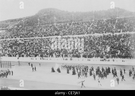 Greece, Attica, Athens, Opening ceremony of the 1896 Games of the I Olympiad in the Panathinaiko stadium, royal - Stock Photo