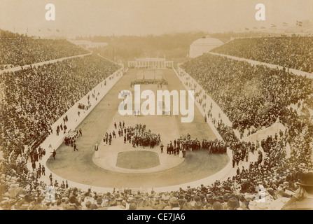 Greece, Attica, Athens, Opening ceremony of the 1896 Games of the I Olympiad in the Panathinaiko stadium. - Stock Photo