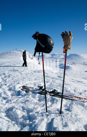 View from the top of Glencoe ski resort in bright sunshine and deep snow - Stock Photo