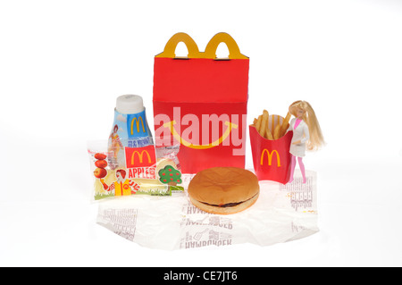 McDonald's Barbie Happy Meal on white background cutout - Stock Photo