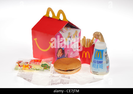 McDonald's Barbie Happy Meal with hamburger, french fries, milk  and apple dippers on white background cutout - Stock Photo