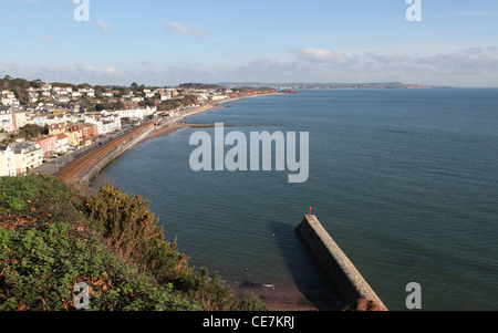 A view of Dawlish seafront looking up the coast - Stock Photo