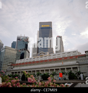 Fullerton Hotel in Central Business District CBD in the Marina Bay area of the city of Singapore in Far East Southeast - Stock Photo
