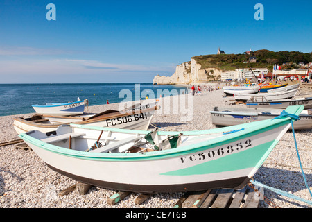 Boats on the beach at Etretat, Normandy, France. - Stock Photo