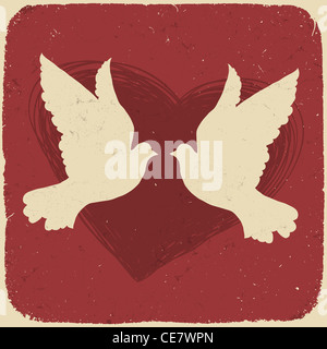 Two lovers doves. Retro styled illustration - Stock Photo