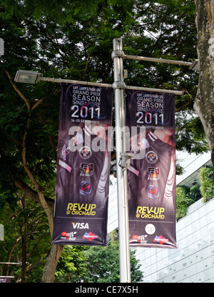 Singapore formula 1 banners on Orchard Road - Stock Photo