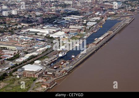 Aerial image of Albert Docks, Hull, East Yorkshire - Stock Photo