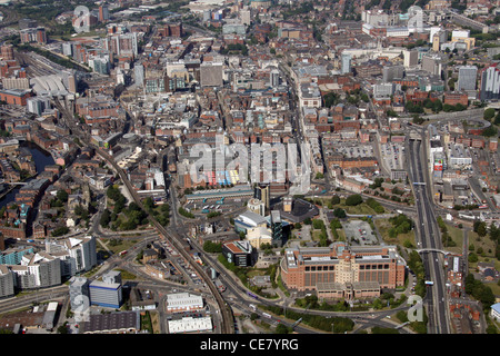 Aerial Photograph of Leeds City Centre from the east looking west across the city - Stock Photo