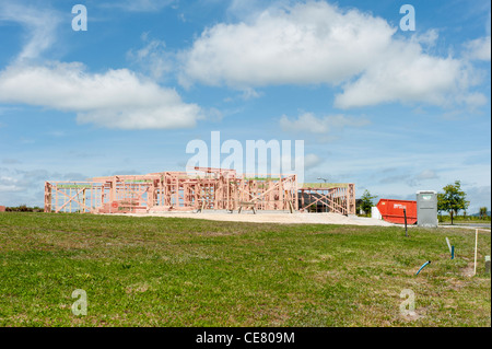 Wood frame of a new house on the Lakes housing development, Tauranga, Bay of Plenty, New Zealand. - Stock Photo