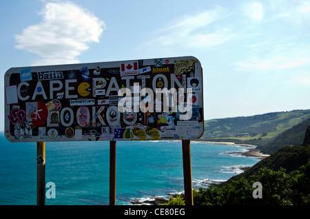 Sign of Cape Patton along Great Ocean Road, Australia - Stock Photo