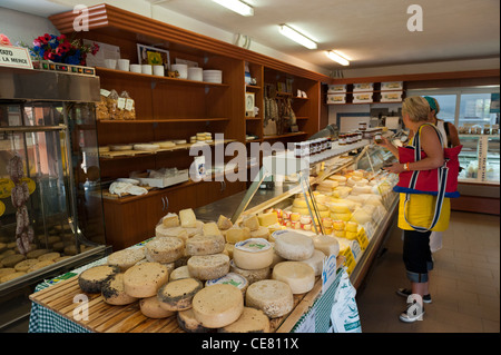 Local cheeses on sale at the Cooperativa Casearia. Val di Vara. Verese Ligure. Liguria. Italy - Stock Photo