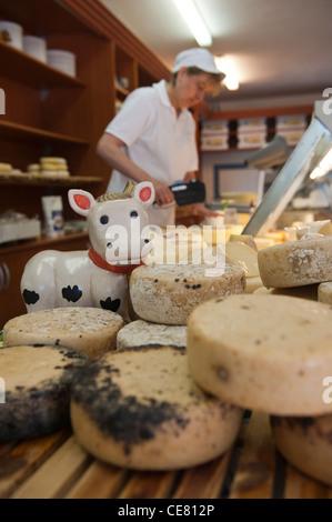 Local cheeses on sale at the Cooperativa Casearia. Val di Vara. Verese Ligure. Liguria. Italy - Stock Photo