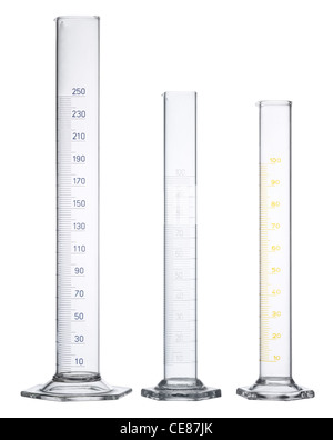 3 empty measuring cylinders made of glass in white back - Stock Photo