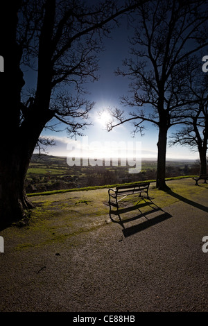 Long shadows on Park Walk, Shaftesbury in Winter, Dorset - Stock Photo