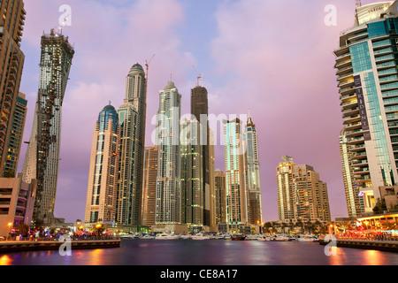 Asia, Arabia, Dubai Emirate, Dubai, Harbor and Skyscrapers of Dubai Marina - Stock Photo