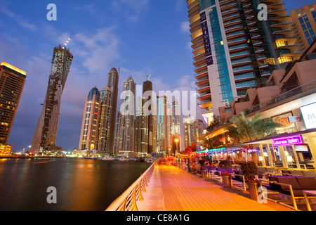 Asia, Arabia, Dubai Emirate, Dubai, Harbor and Skyscrapers of Dubai Marina - Stock Photo