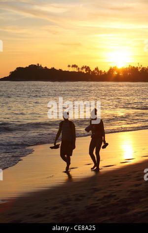Sri Lanka, Unawatuna, beach, palm, palmtrees, sunset, sea - Stock Photo