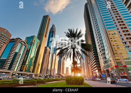 Asia, Arabia, Dubai Emirate, Dubai, Sheikh Zayed Road - Stock Photo