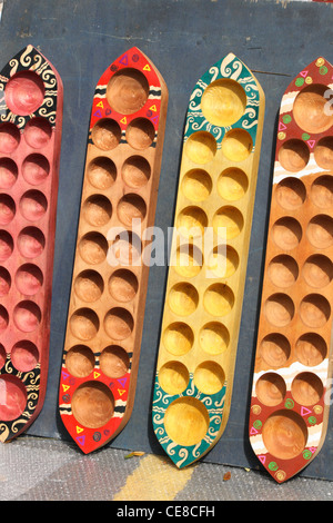 congkak boards, a Malaysian traditional game - Stock Photo