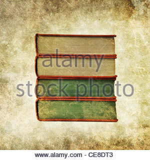 old book pile - Stock Photo