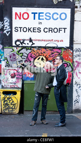Mark Carroll ,in black coat, from DCLG visits Stokescroft, Bristol . - Stock Photo