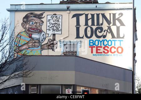 Anti tesco graffiti, Stokes Croft, Bristol - Stock Photo