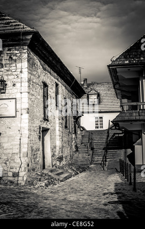 Old buildings in Kazimierz Dolny, Poland - vintage black and white picture - Stock Photo