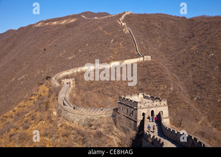 The restored section of the Great Wall of China at Mutianyu, near Beijing, taken in late winter conditions. - Stock Photo