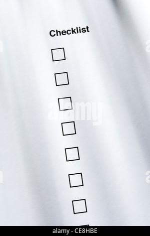 Checklist, none ticked - Stock Photo