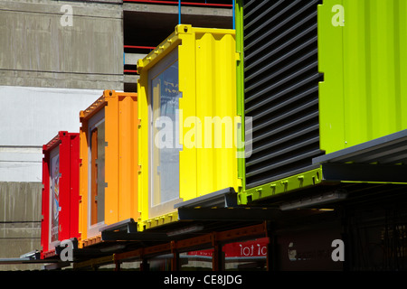 Brightly painted shipping containers at Re:START container mall, Cashel Street, Christchurch, Canterbury, South - Stock Photo