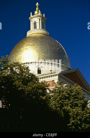 Massachusetts State House Dome, Boston, MA, USA - Stock Photo