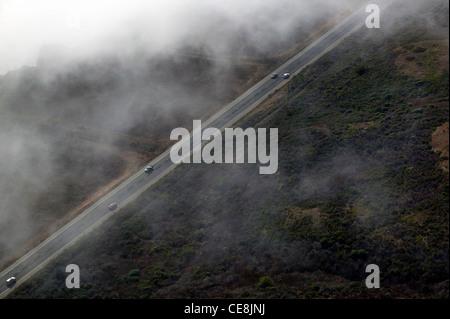 aerial photograph Highway One coastal Santa Cruz county, California - Stock Photo