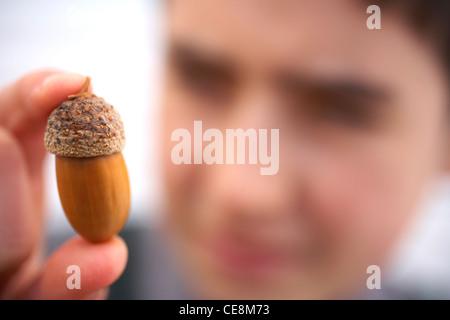 Boy looking at acorn - Stock Photo