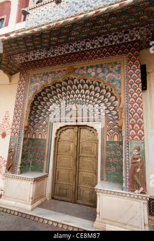 Lotus Gate depicting summer in the Pitam Niwas Chowk, in the City Palace in Jaipur, in Rajasthan, India - Stock Photo