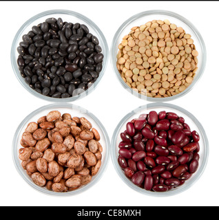 black beans, red beans, pinto beans and lentils photographed in round jars isolated on a white background - Stock Photo